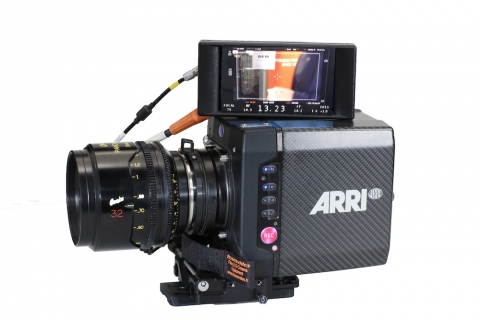 Transvideo's StarliteHD-e recorder-monitor displaying its latest focus puller menu, connected to an ARRI camera and ARRI smart optics